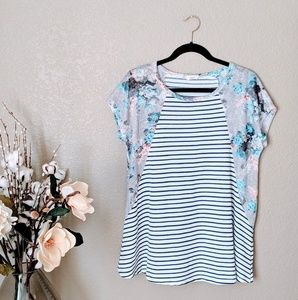 Oddy Blue Striped and Floral Knit Tshirt Sz M
